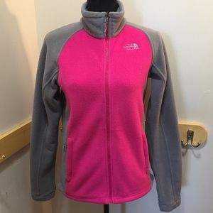 The North Face Pink and Gray Fleece Jacket